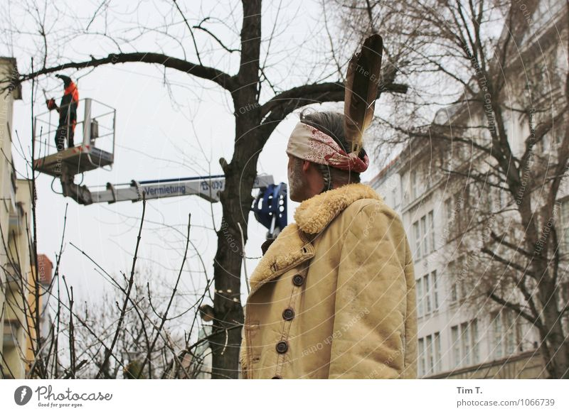 Human being Man Tree Environment Adults Berlin Head Masculine Creativity Change Capital city Downtown Old town 30 - 45 years Native Americans Cut down