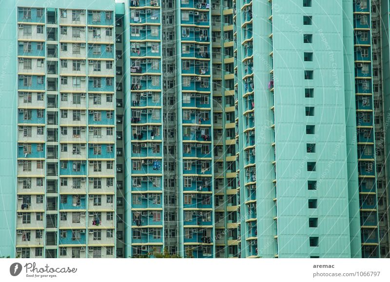 City Blue Loneliness House (Residential Structure) Window Architecture Living or residing High-rise Uniqueness Asia Balcony Downtown Populated Hongkong