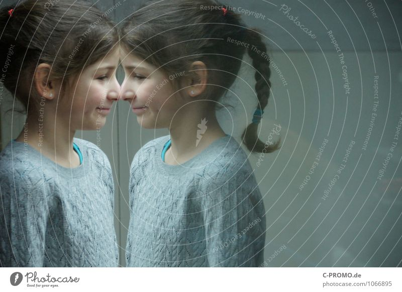 Mirrored girl 2 Human being Feminine Sister Friendship Infancy Twin 3 - 8 years Child Sweater Earring brunette braid Glass Looking Curiosity Gray Loneliness