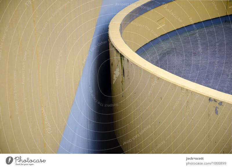 Round meets concrete Functionalism Erlangen Wall (barrier) Wall (building) Ramp Structures and shapes Concrete Semicircle late Spacing Firm chill Gloomy Brown