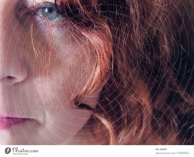 Human being Woman Green Colour Red Cold Adults Face Eyes Emotions Think Hair and hairstyles Brown Orange Modern Authentic