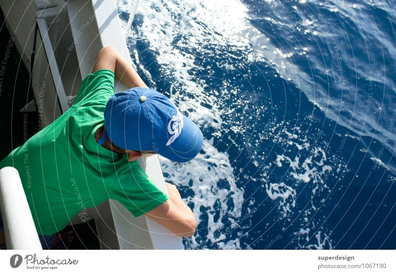 On the high seas Vacation & Travel Tourism Trip Adventure Far-off places Freedom Cruise Summer Summer vacation Sun Ocean Island Waves Boy (child) Water