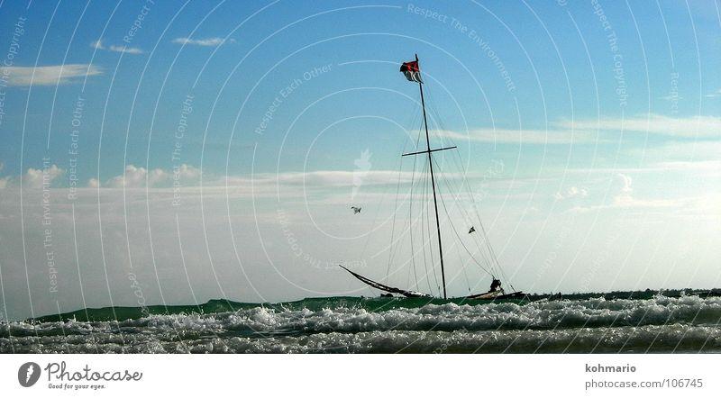 Water White Ocean Blue Clouds Freedom Watercraft Waves Horizon Flag Asia Wild animal Sailing Sail Surf Sailboat