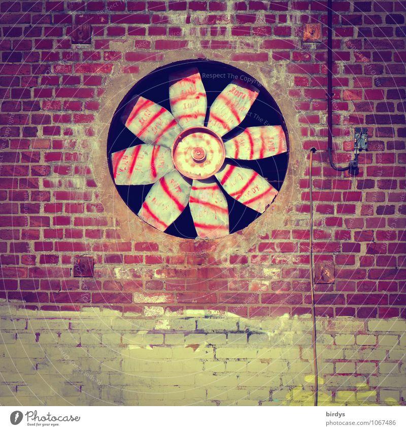 grafilator Fan Ventilation Industry Facade Brick facade Brick wall fan wheel Old Large Retro Round Senior citizen Esthetic Design Culture Center point Town Past