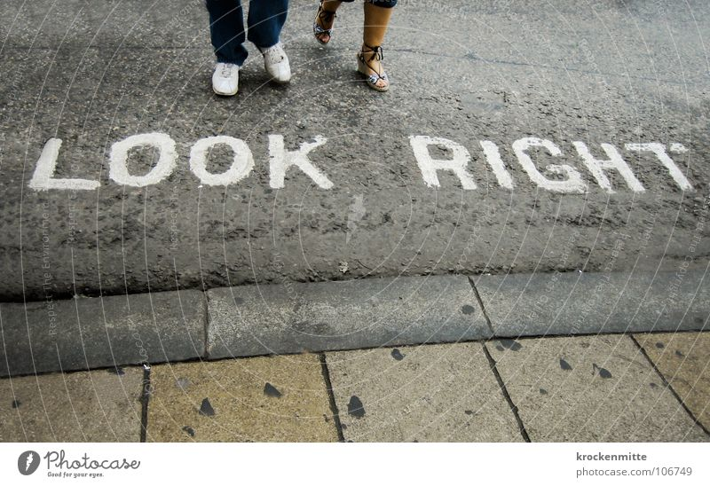The right look Traverse Pedestrian Street crossing London England Typography Town Asphalt Footwear Transport Vacation & Travel Great Britain Left-hand traffic