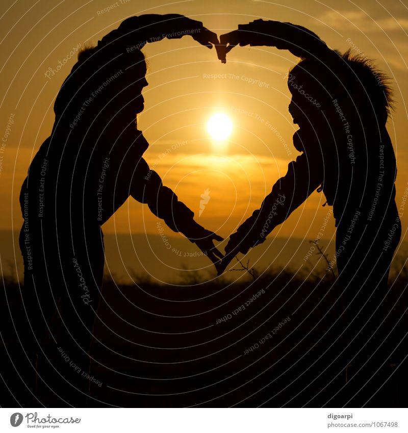 Sunset heart Human being Woman Nature Beautiful Summer Ocean Hand Joy Girl Adults Yellow Life Emotions Love Couple