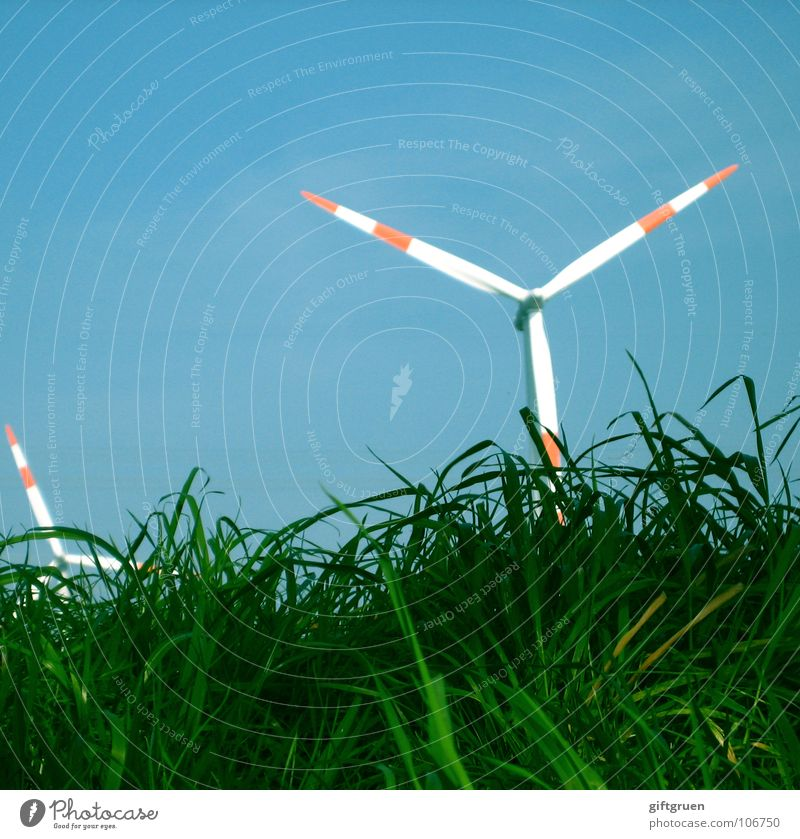 green energy Grass Green Red White Electricity Rotate Renewable energy Generator Wind energy plant Industry Sky Blue Energy industry power supply Lawn