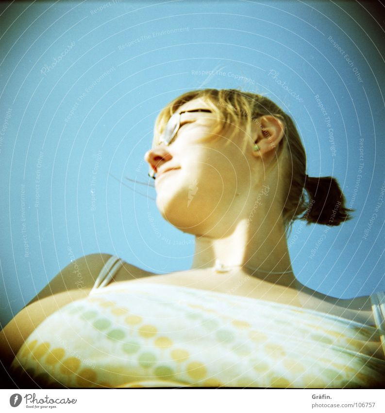 me, myself and... I Holga Self portrait Woman Eyeglasses Braids Blonde Necklace Sun Blue sky ill-advised prospect unfavourable :-) Hair and hairstyles