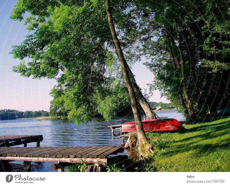 FISHING BOAT Canoe trip Footbridge Fishing boat Red Calm Loneliness Idyll Water lily Events Find Work and employment Camping Poland Masuria sorkwity gielad Sea
