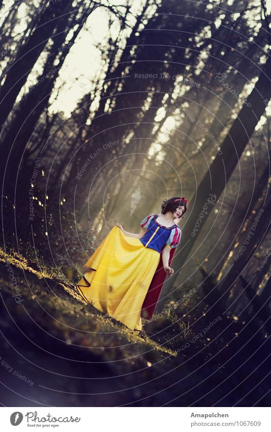 ::15-12:: Beautiful Carnival Hallowe'en Feminine Woman Adults Snow White Fairy tale Enchanted forest Princess Dress up Carnival costume Stage play Cartoon film