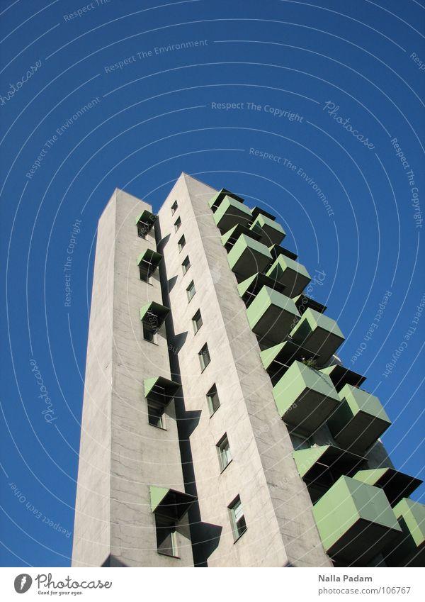 Sky Green Blue House (Residential Structure) Berlin Gray Building Concrete High-rise Living or residing Balcony Upward Kreuzberg Sunshield