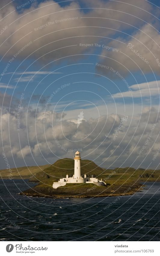 Lighthouse on the Isle of Mull (Scotland) Atlantic Ocean Vacation & Travel Building Green Coast Lint Summer Meadow Clouds Portrait format Waves Industry Sky