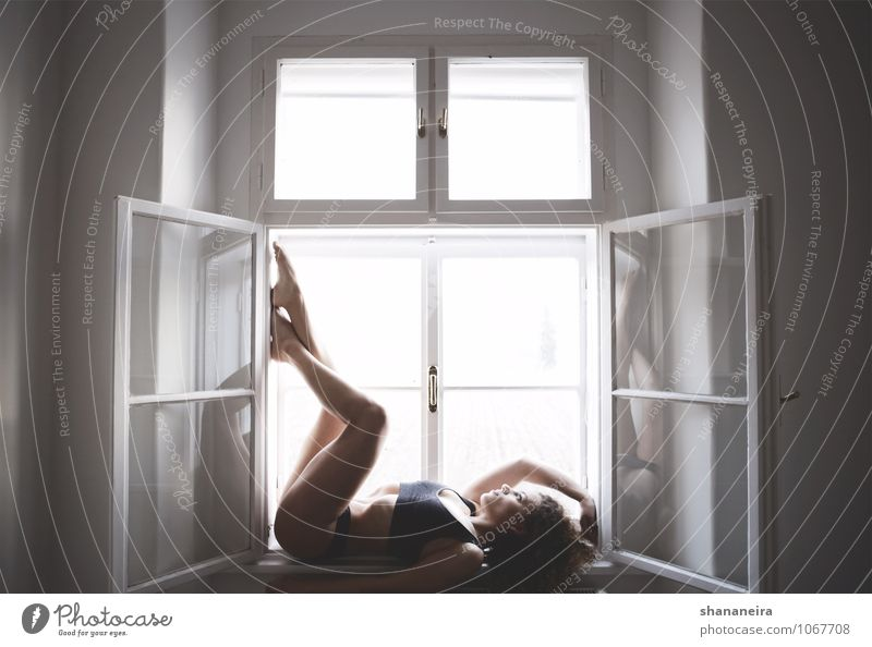Steamy Windows Sports Fitness Sports Training Feminine Young woman Youth (Young adults) Esthetic Athletic Natural Mysterious Window pane Posture Colour photo