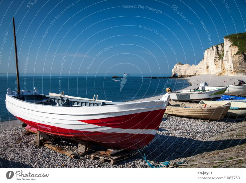 The boat Vacation & Travel Tourism Trip Far-off places Summer Summer vacation Beach Ocean Nature Landscape Cloudless sky Horizon Beautiful weather Rock Coast