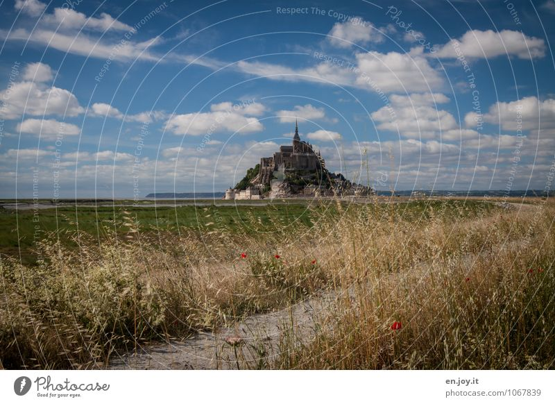 The way is the goal Vacation & Travel Tourism Trip Summer vacation Island Nature Landscape Clouds Horizon Beautiful weather Grass Meadow Hill Mont St Michel