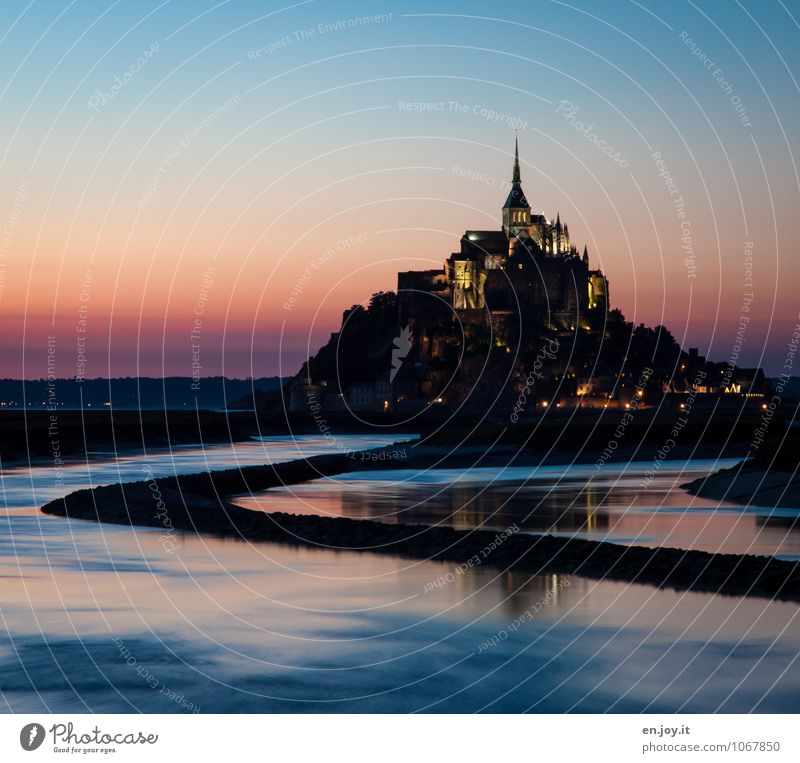 moat Vacation & Travel Tourism Trip Island Landscape Water Cloudless sky Sunrise Sunset Hill Mont St Michel River Normandie Brittany France Church Castle Tower