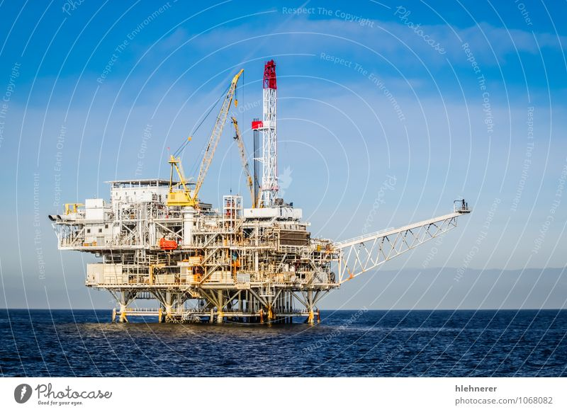 Oil Rig Blue Plant Ocean Environment Natural Energy Technology Island Industry Factory Pipe Steel Machinery Environmental pollution Industrial