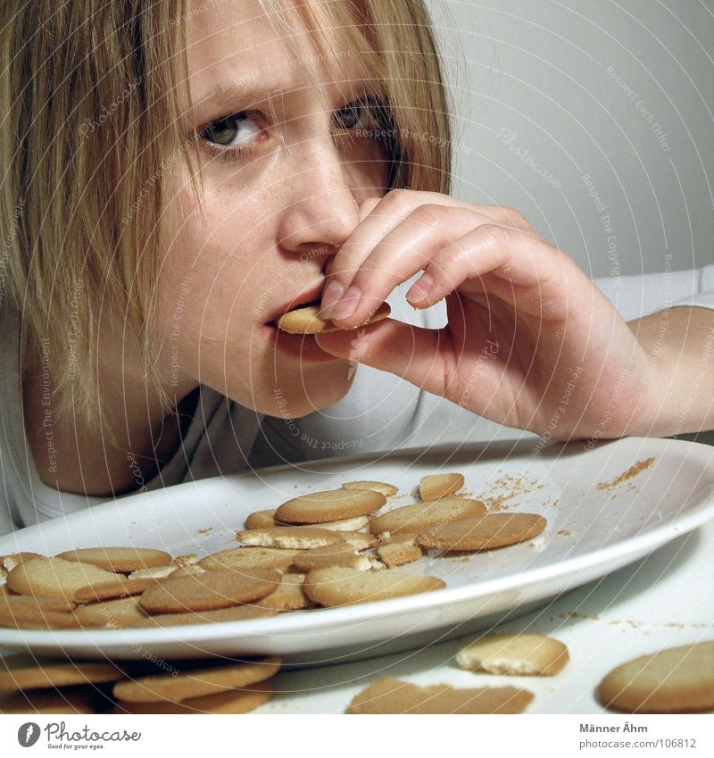 Woman White Hair and hairstyles Eating Nutrition Table Round Candy Plate Baked goods Cookie Crumbs