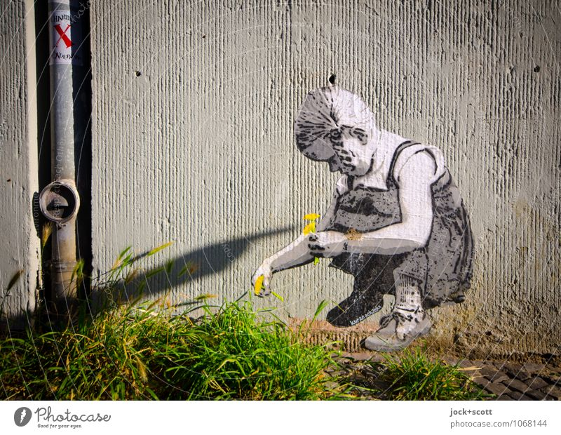 Summer Flower Girl Wall (building) Grass Natural Wall (barrier) Happy Exceptional Fantastic Creativity Cute Romance To hold on Indicate Safety (feeling of)