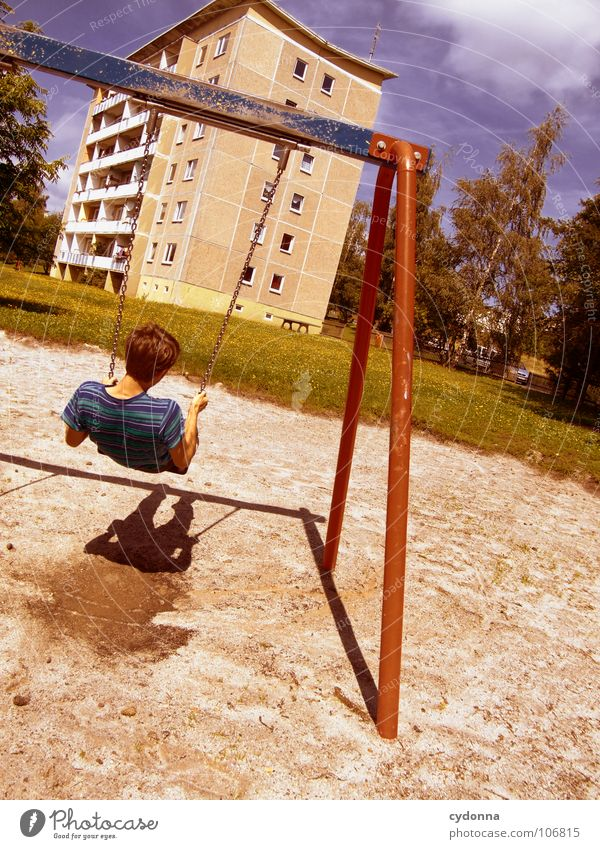 Sitting here, thinking 'bout yesterday V Swing Tower block Settlement Prefab construction East Beautiful Playground Man To enjoy Relaxation Ease Think Happy