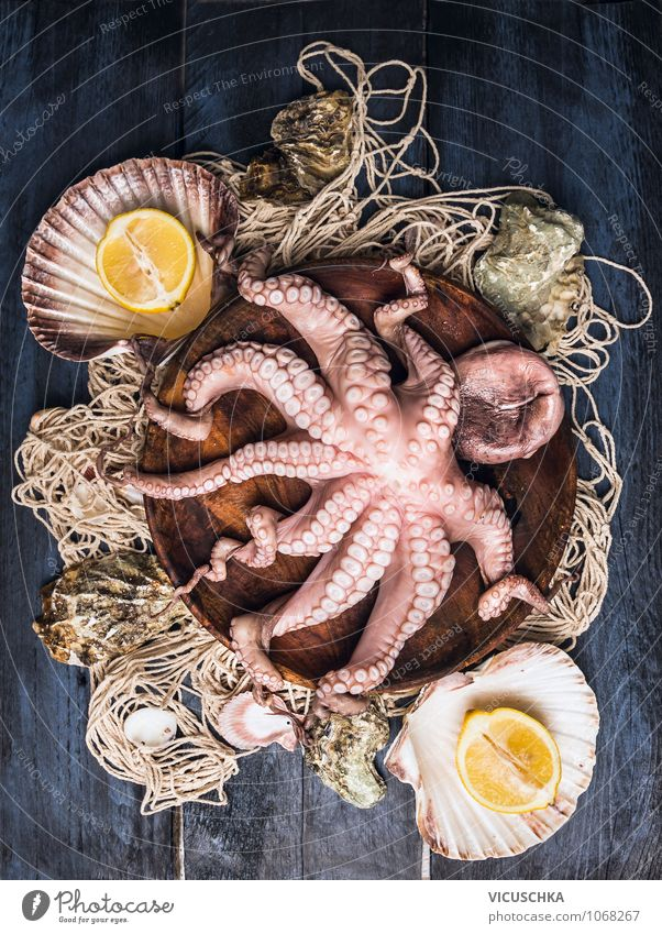 Octopus in wooden bowl on fishing net Food Seafood Fruit Nutrition Dinner Organic produce Vegetarian diet Diet Bowl Style Design Healthy Eating Life