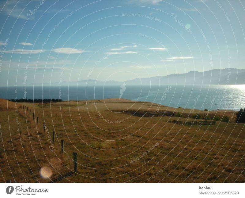 New Zealand Landscape Ocean Mountain landscape reflection