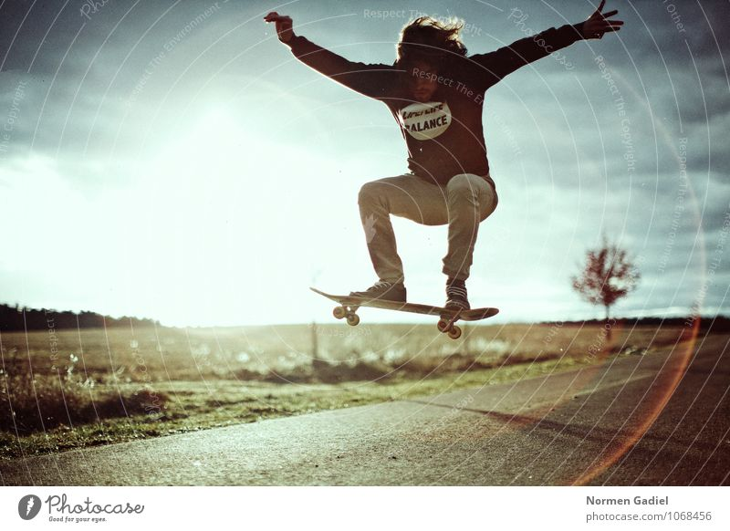 Human being Youth (Young adults) Loneliness Joy 18 - 30 years Adults Street Emotions Sports Freedom Jump Lifestyle Masculine Leisure and hobbies Athletic Skateboarding