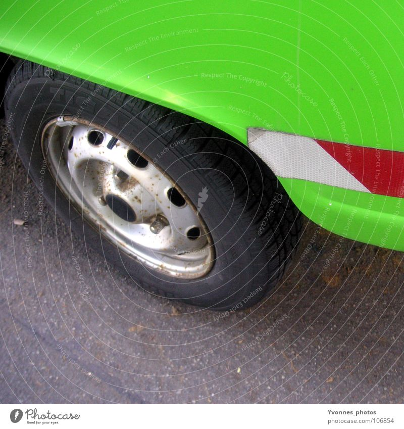 Green Colour Street Style Car Metal Door Glittering Transport Perspective Stripe Retro Driving Motor vehicle Traffic infrastructure Mobility