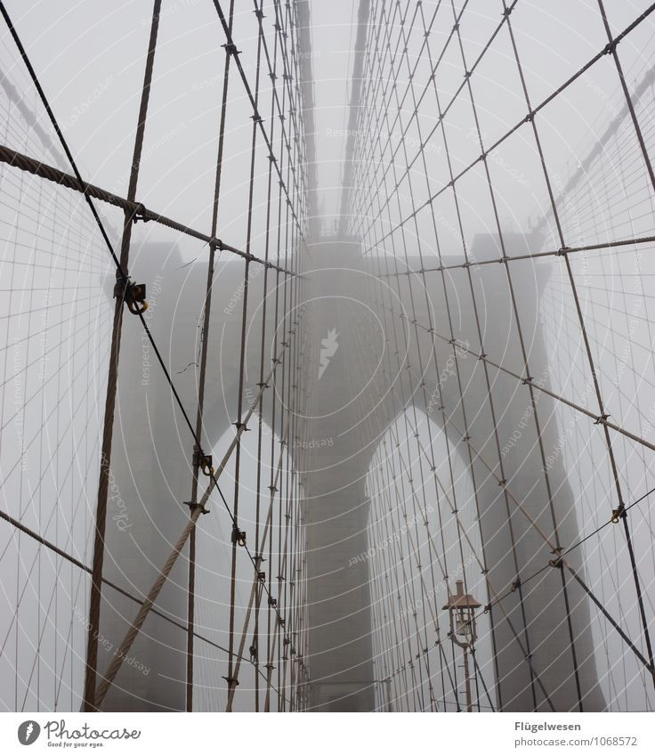Fog USA Bridge Tourist Attraction Skyline Americas American Flag New York City Brooklyn Brooklyn Bridge