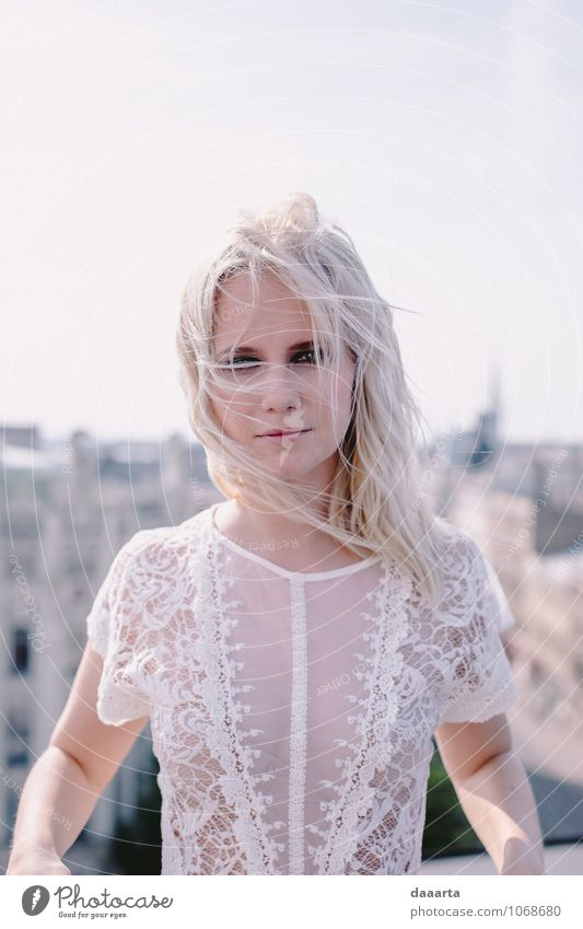 windy much? Lifestyle Elegant Style Joy Harmonious Relaxation Leisure and hobbies Feminine Dress Top Lace Blonde Exceptional Simple Friendliness Hip & trendy