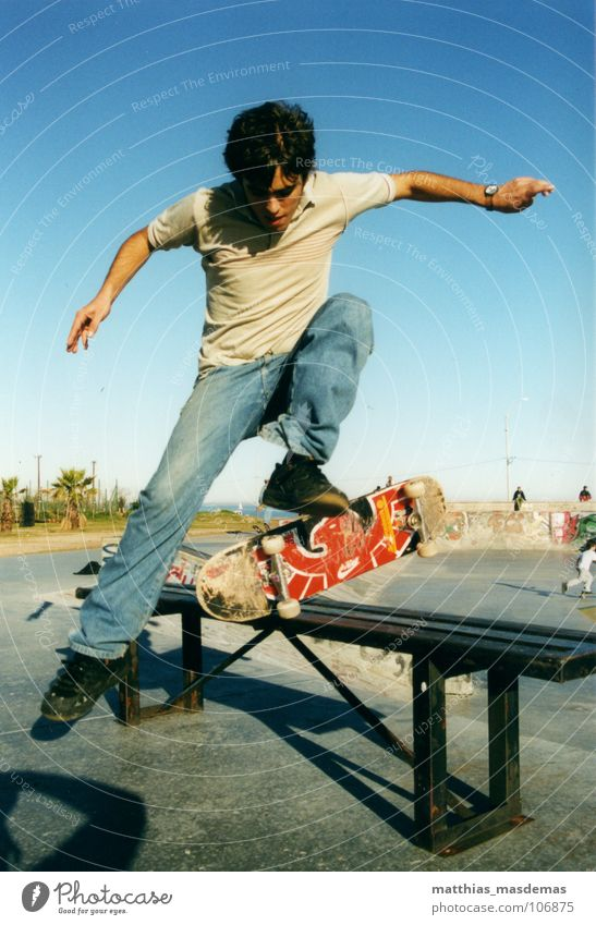 Joy Jump Movement Legs Contentment Arm Flying Horizon Speed Aviation Jeans Bench Leisure and hobbies Skateboarding Dynamics Guy