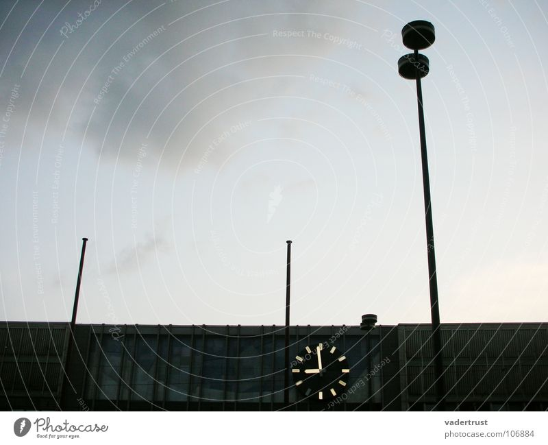 Sky Blue Vacation & Travel Clouds House (Residential Structure) Gray Lamp Time Clock Roof Street lighting Train station Dusk Arrival Central station