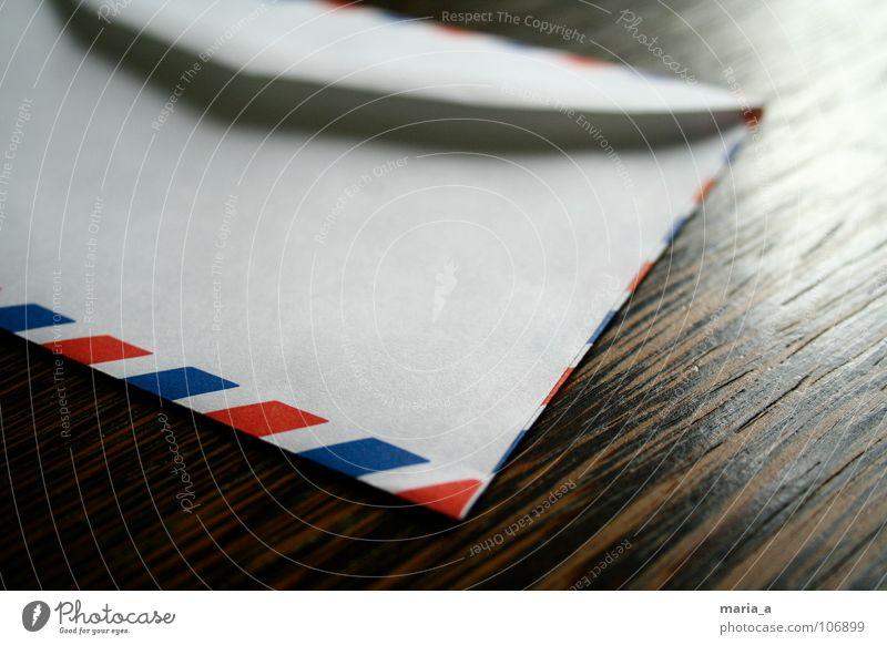 Blue White Red Wood Brown Open Speed Paper Table Corner Stripe Write Contact Box Letter (Mail)