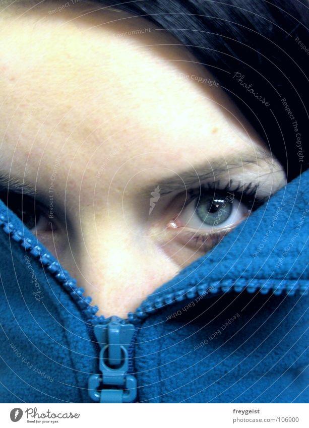 Blue Face Eyes Autumn Cold Jacket Turquoise Self portrait Looking Fleece