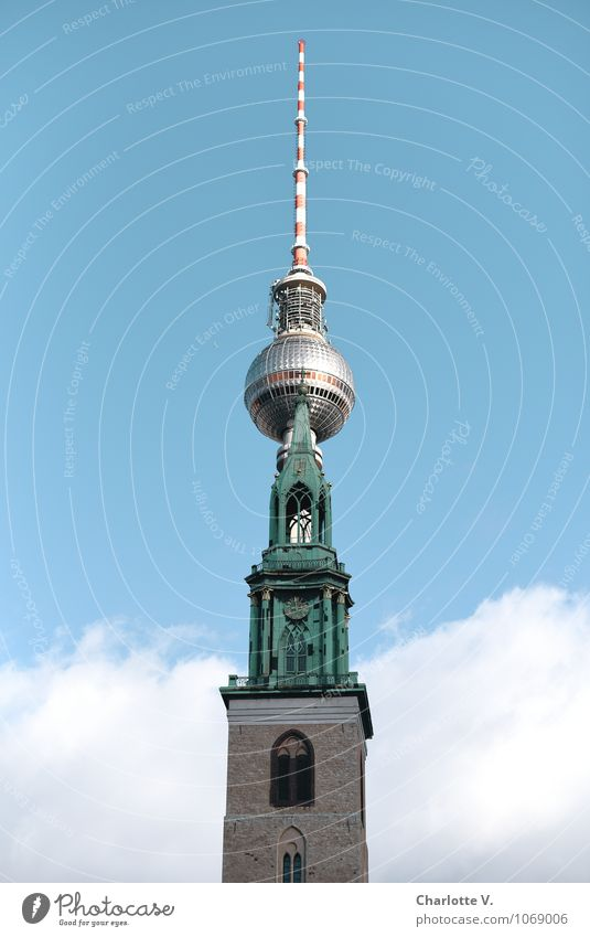 City Old Blue Berlin Stone Metal Together Glittering Tall Large Church Beautiful weather Roof Cool (slang) Tower Historic