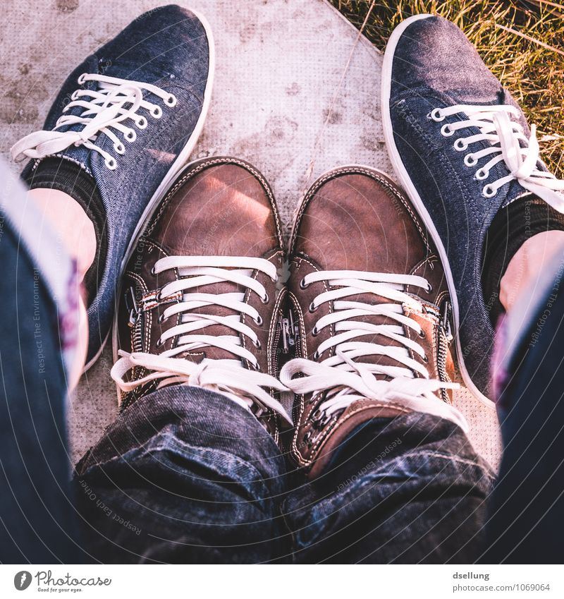 feet in square. Clothing Jeans Footwear Sneakers cloth shoes Cool (slang) Hip & trendy Blue Brown Yellow Gray Green Design Attachment Colour photo Exterior shot