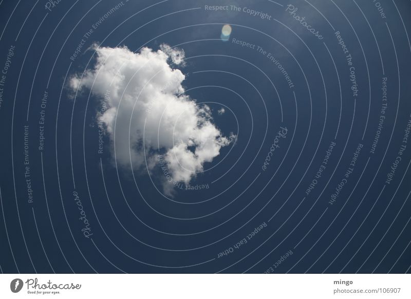 A nice cloud. Clouds White Steam Loneliness Raincloud Absorbent cotton Environment Back-light Relaxation Think Sky Blue Weather Nature Level