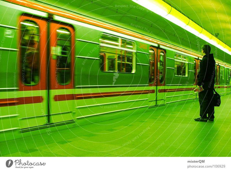 Toxic Subway Underground Subsoil Transport Green Man Human being Population Stripe Railroad Red Dark Light Wait Arrival Background picture Blur Platform Time