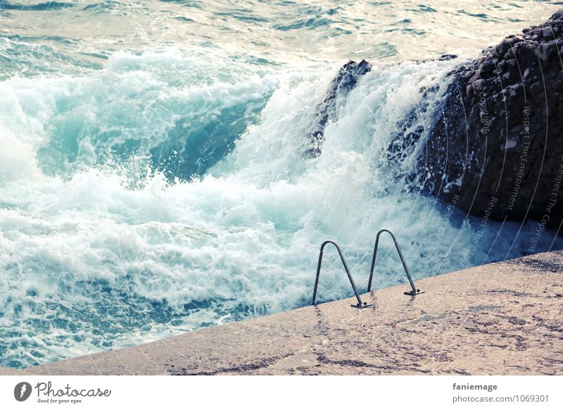 la mer, ma piscine Swimming pool Hot Hip & trendy Ocean Ladder Rock Waves Inject Water Fresh Refreshment Marseille France Mediterranean sea Vacation & Travel