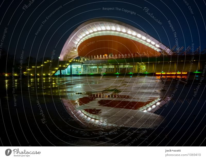 Winter Cold Architecture Freedom Facade Illuminate Elegant Modern Transience Culture Watchfulness Safety (feeling of) Sightseeing Hall Symmetry Puddle