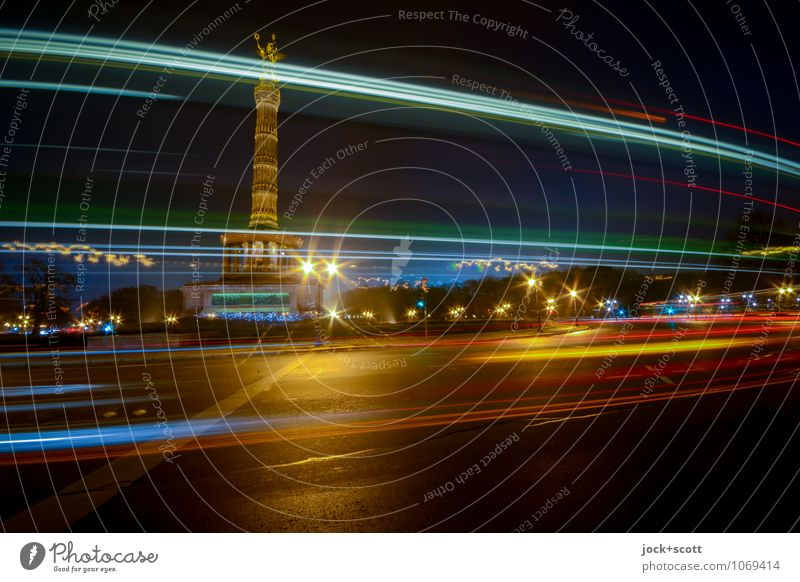 column of victory by night Night sky Winter Berlin zoo Capital city Downtown Tourist Attraction Victory column Traffic circle Stripe Driving Famousness Dark