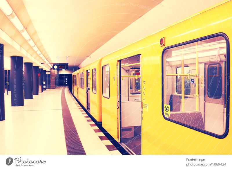 Berlin subway Capital city Downtown Tunnel Rail transport Train travel Underground Rail vehicle Platform Testing & Control Vanishing point Yellow Violet Colour