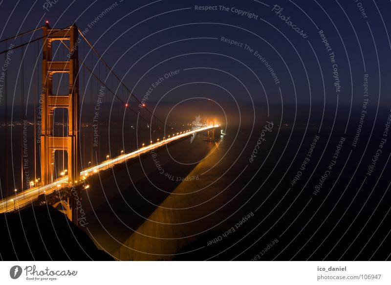 Water Red Far-off places Dark Fog Bridge USA Traffic infrastructure Night sky California San Francisco Golden Gate Bridge