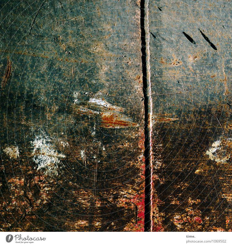 Power | Visual aesthetics Construction site Metal Line Crack & Rip & Tear Scratch mark Rust Patch of colour Bearing edge Old Esthetic Dark Broken Trashy Stress