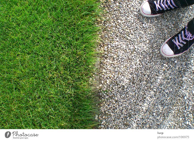 Should I go? Garden Grass Park Meadow Footwear Stone Under Divide Chucks Sidewalk Pebble Border Barrier Image format Shoelace Geometry Hannover Floor covering