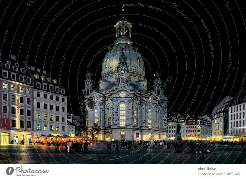 Dresden Church of Our Lady Vacation & Travel Tourism Trip Sightseeing City trip Night life Going out Human being Architecture Culture Night sky Stars Town