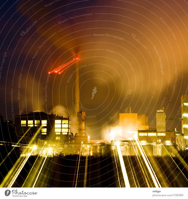 light factory Factory Light Red Radiation Building Commerce Night Long exposure Zoom effect Sugar refinery Industry Tower Chimney Steam Smoke Beam of light