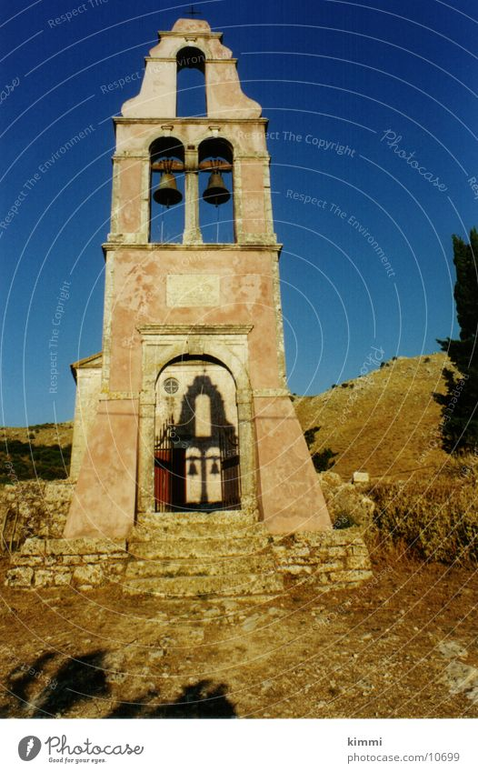 House (Residential Structure) Religion and faith Europe Village Dusk Greece Church spire Corfu Bell tower
