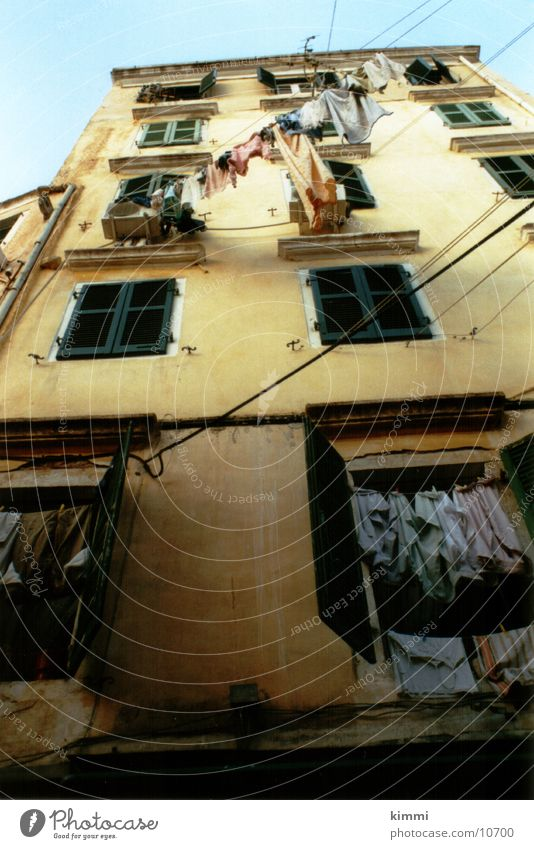 Corfiot impression House (Residential Structure) Clothesline Facade Laundry Europe