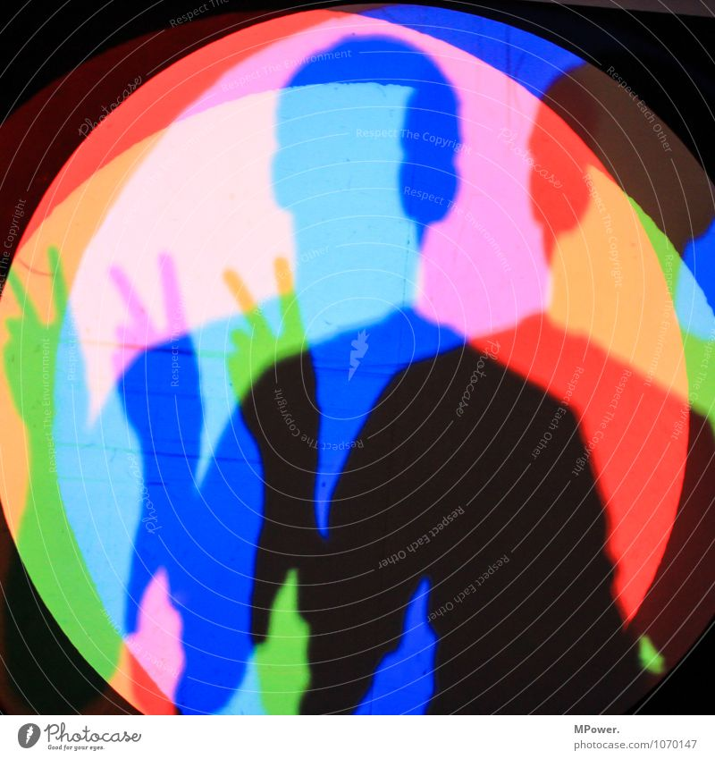 Blue Green Red Lighting Art Head Fingers Cool (slang) Peace Self portrait Complementary colour